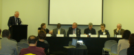 A panel of Rutgers and industry experts discuss how to prepare residents for climate change impacts. Tony MacDonald of Monmouth University's Urban Coast Institute moderated the panel.