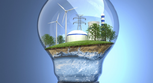 Light bulb with clean energy icons